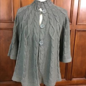 ELLE Womens Sz XL Solid Gray Cable Knit Shawl Card